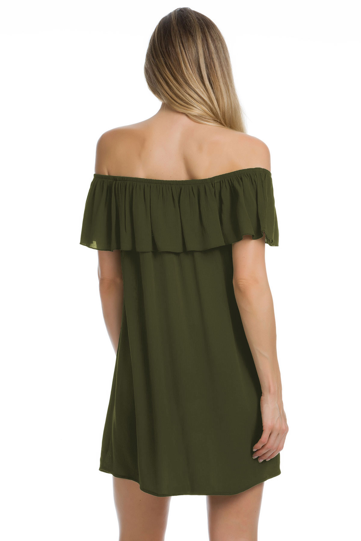 Off The Shoulder Flounce Ruffle Tunic - Bay Leaf 2
