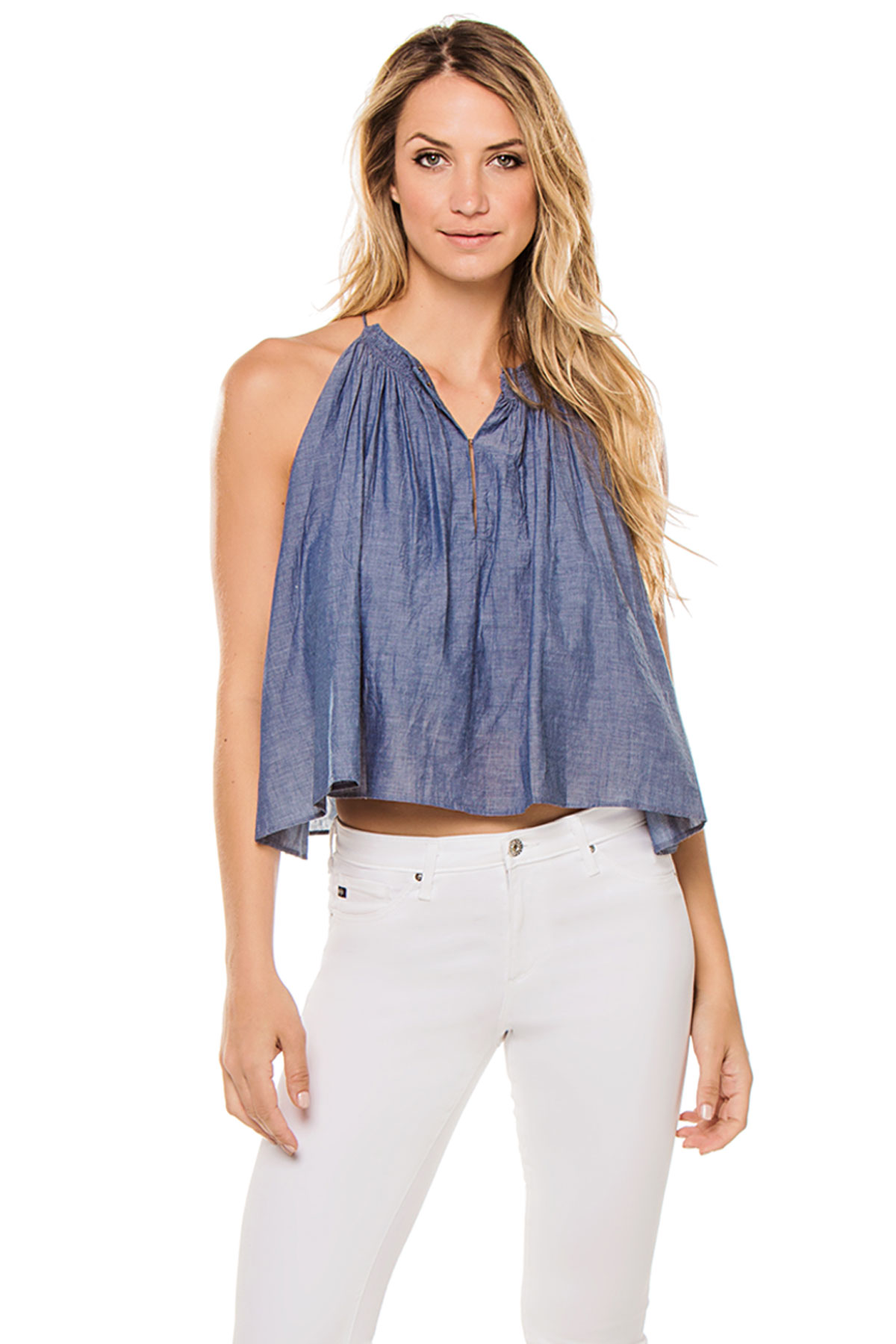 Cutaway Button Up Tank Top - Chambray