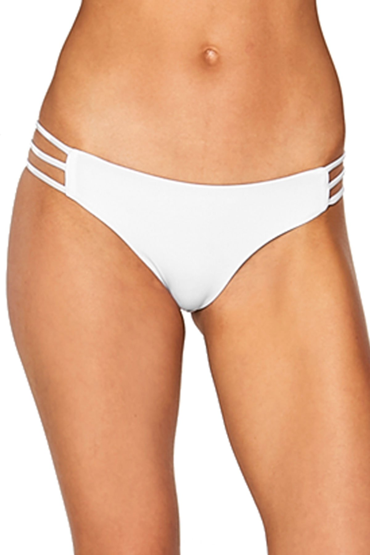 Kennedy Multi Strap Tab Side Hipster Bikini Bottom - White 17