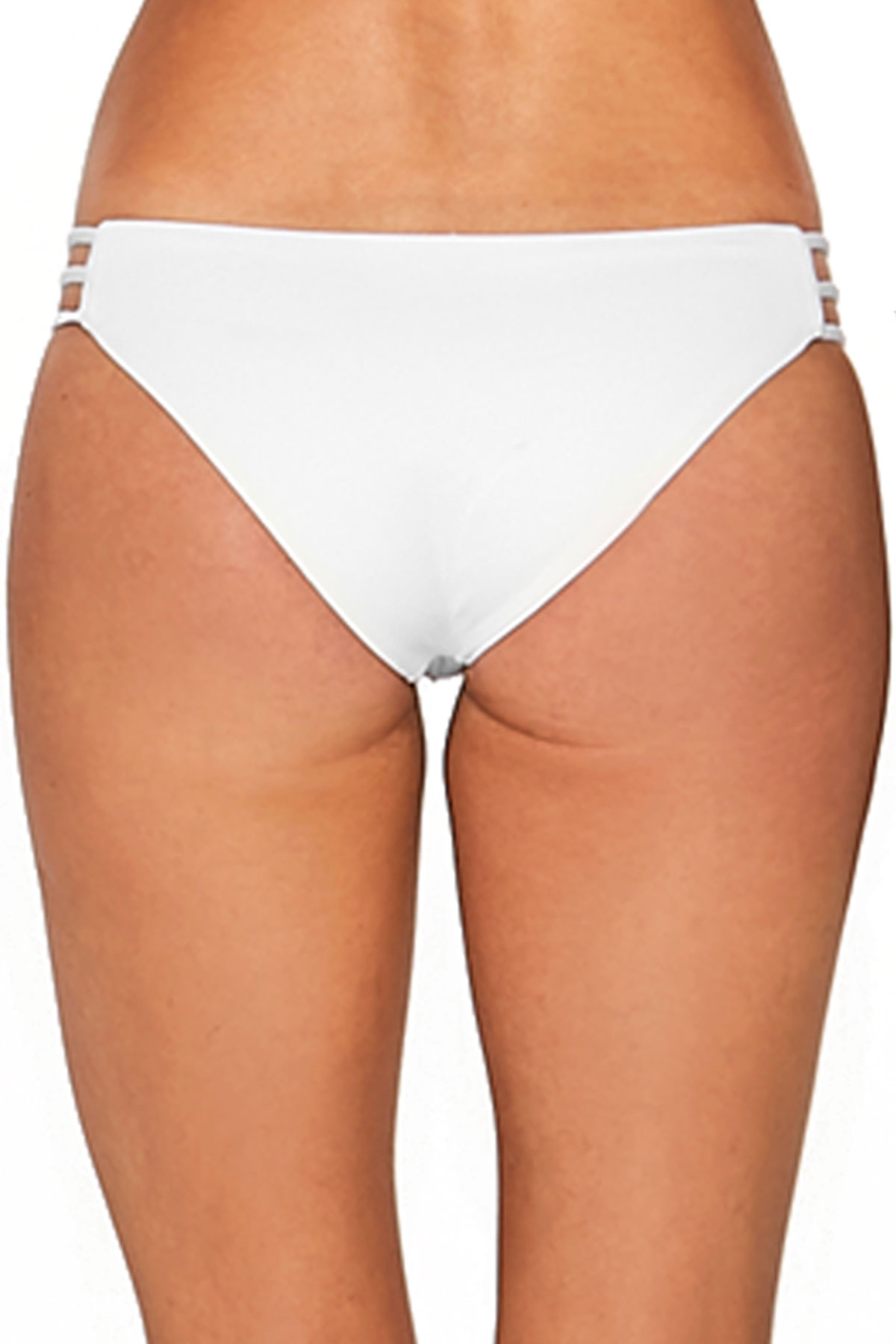 Kennedy Multi Strap Tab Side Hipster Bikini Bottom - White 18