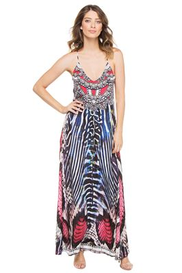 Red Cobra Print Maxi Dress