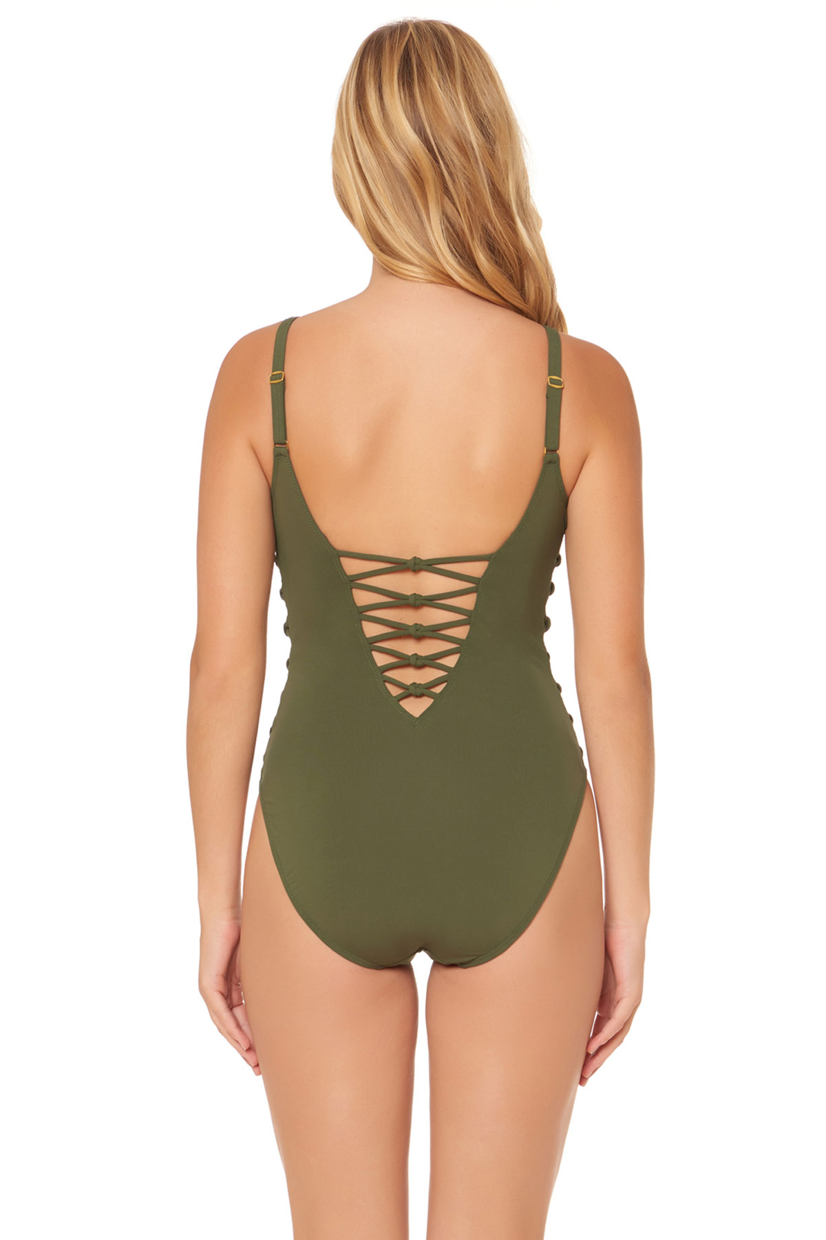 Side Lace-Up Over The Shoulder One Piece Swimsuit - Amazon 2