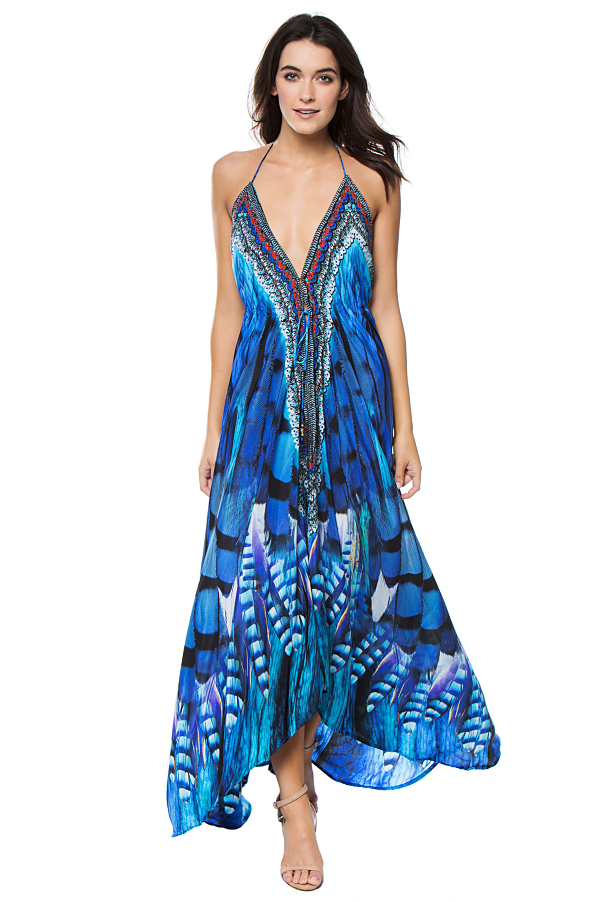 Feather Print Low Back Dress - Blue