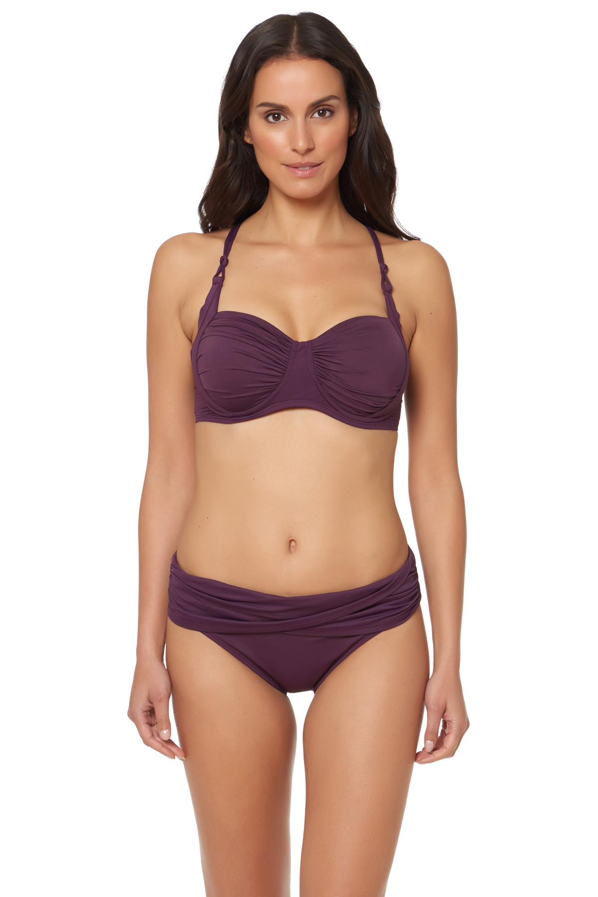 Molded Underwire Bra Top (D-DD Cup) - Aubergine