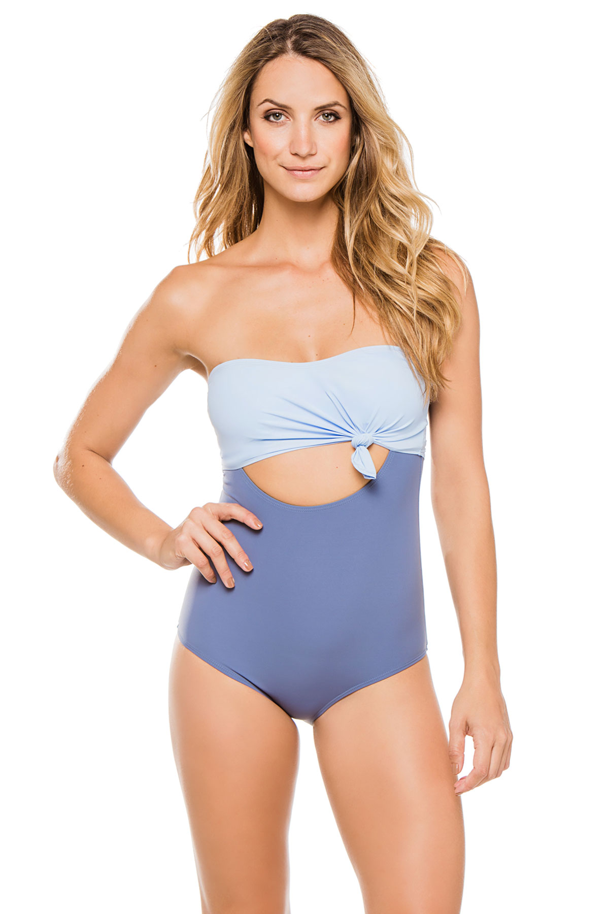 Nora Colorblocked Bandeau One Piece Swimsuit - Bay/Niagara