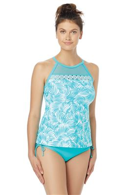 Exhilarate Mesh Inset High Neck Tankini Top