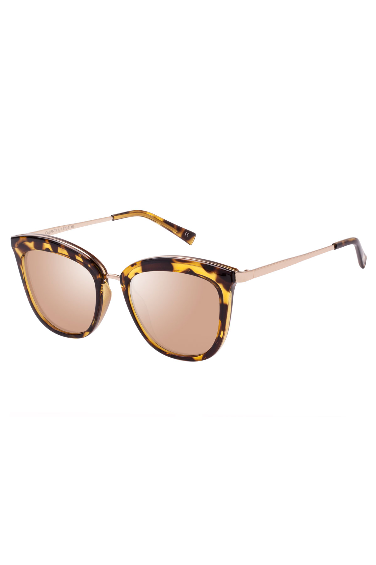 Caliente Copper Mirror Lens Cateye Sunglasses - Syrup Tort