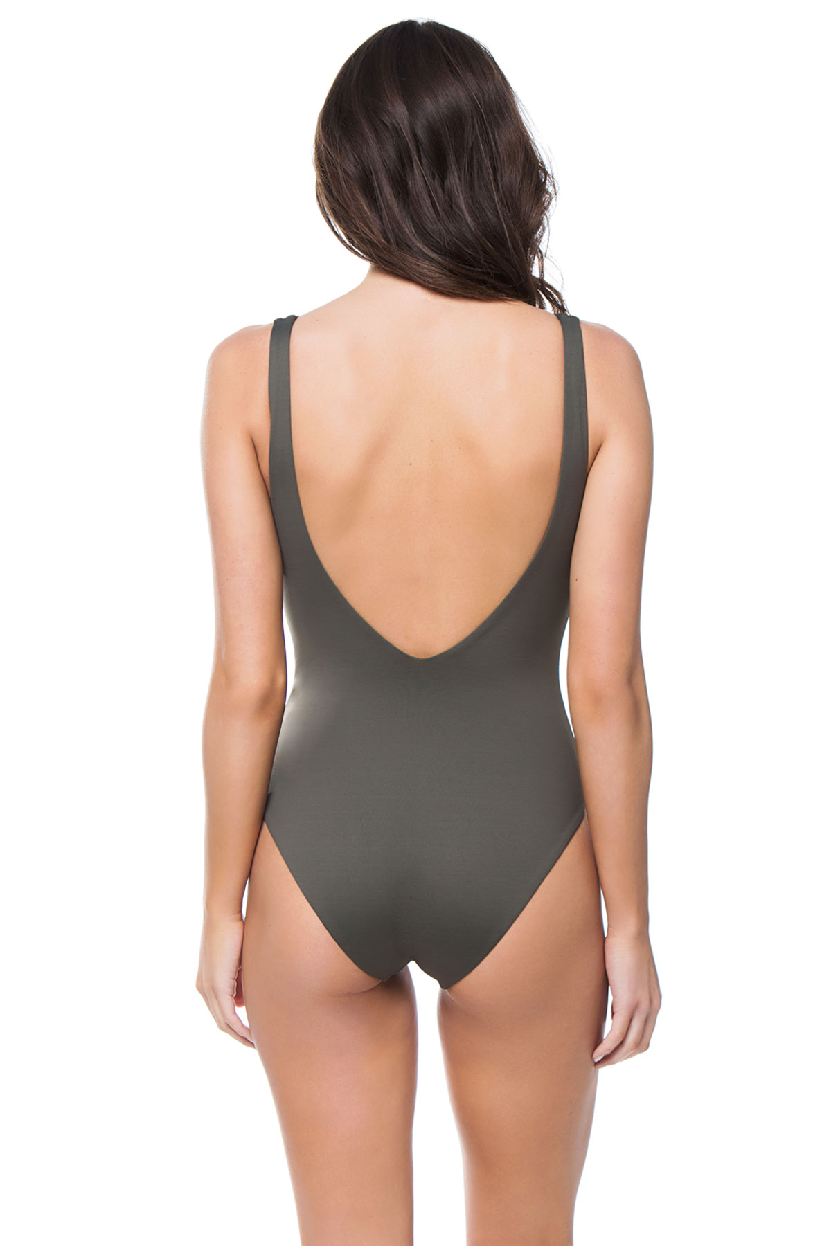 Plunge Over The Shoulder One Piece Swimsuit - Deep Khaki 5