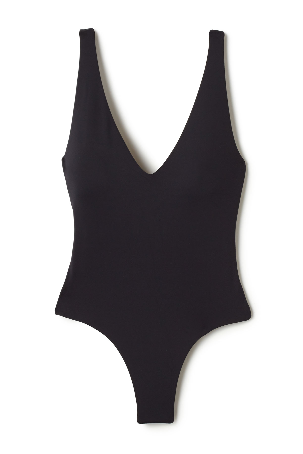 Plunge Over The Shoulder One Piece Swimsuit - Black 3