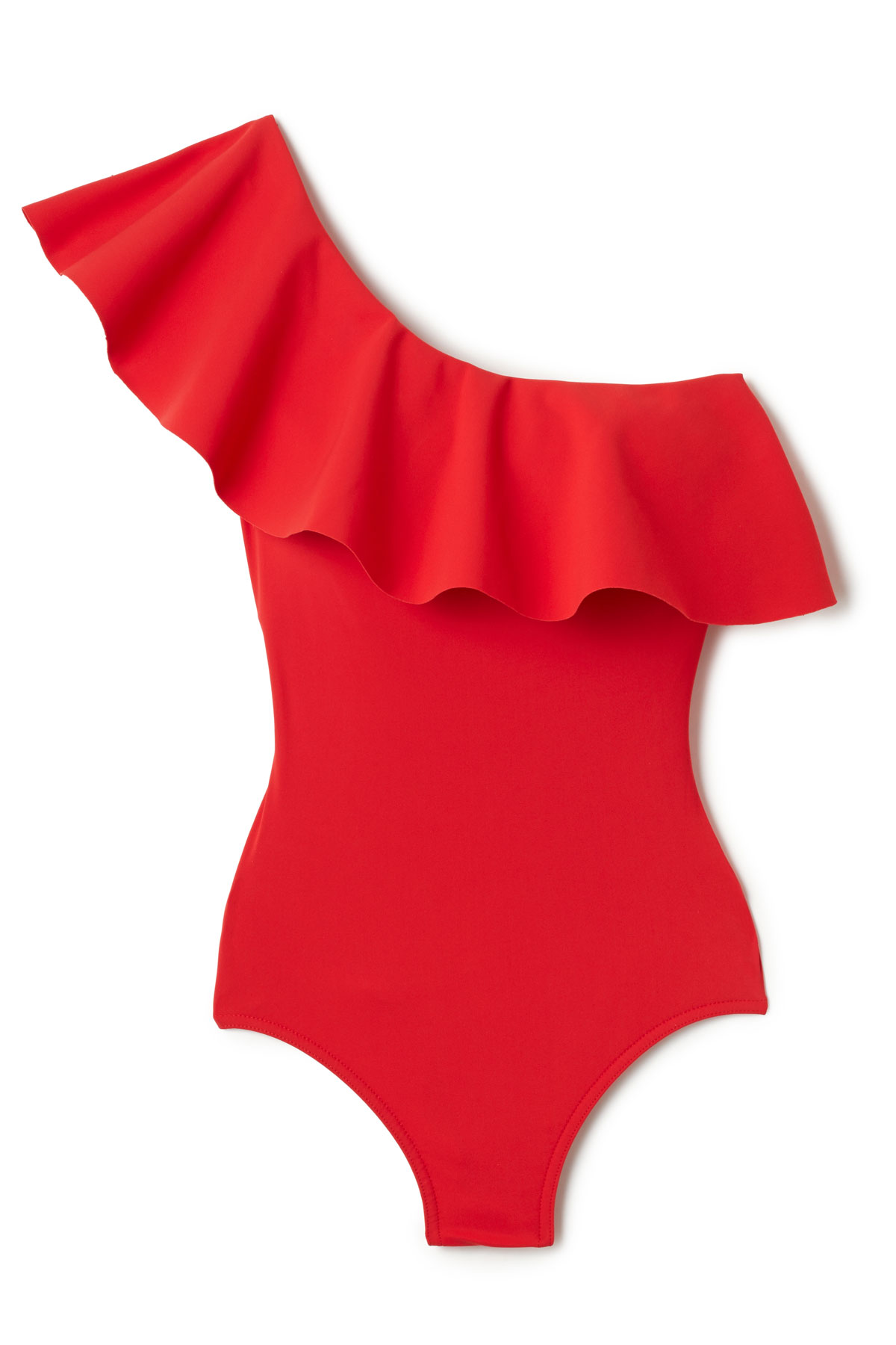 Ruffled Asymmetrical One Piece Swimsuit - Cherry 3