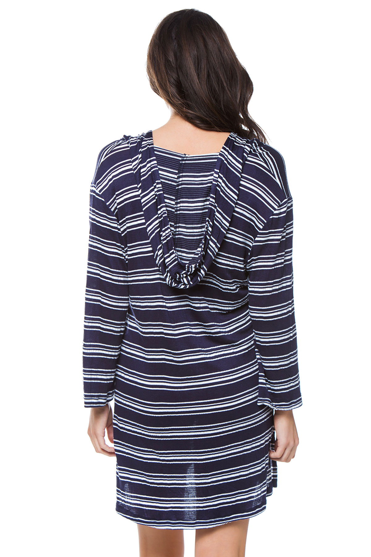 Lace-Up V-Neck Hoodie - Navy 2