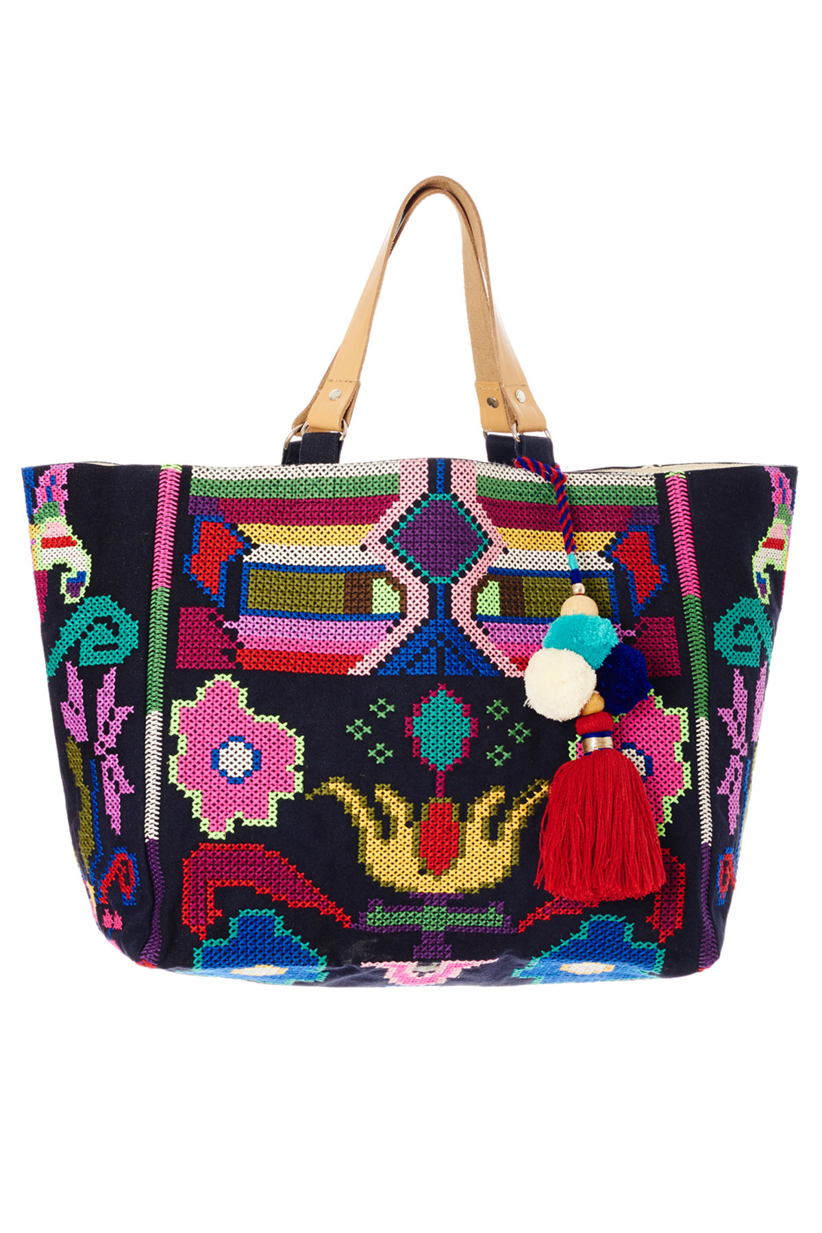 Vita Mexican Inspired Tote - Navy/Multi 1