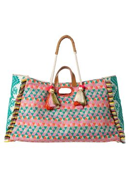 Geometric Rope Shoulder Canvas Tote