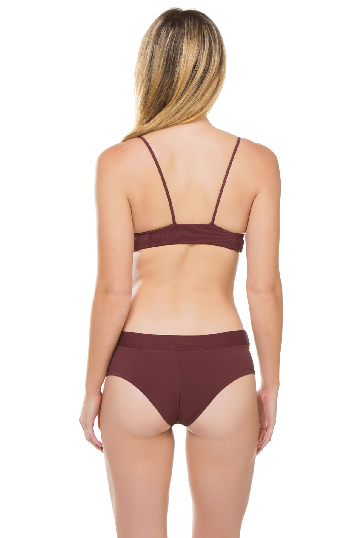 Dana The Delinquent Banded Triangle Bikini Top - Burgundy 6