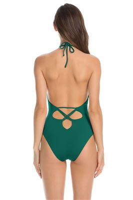 Crisscross Front Plunge Halter One Piece Swimsuit