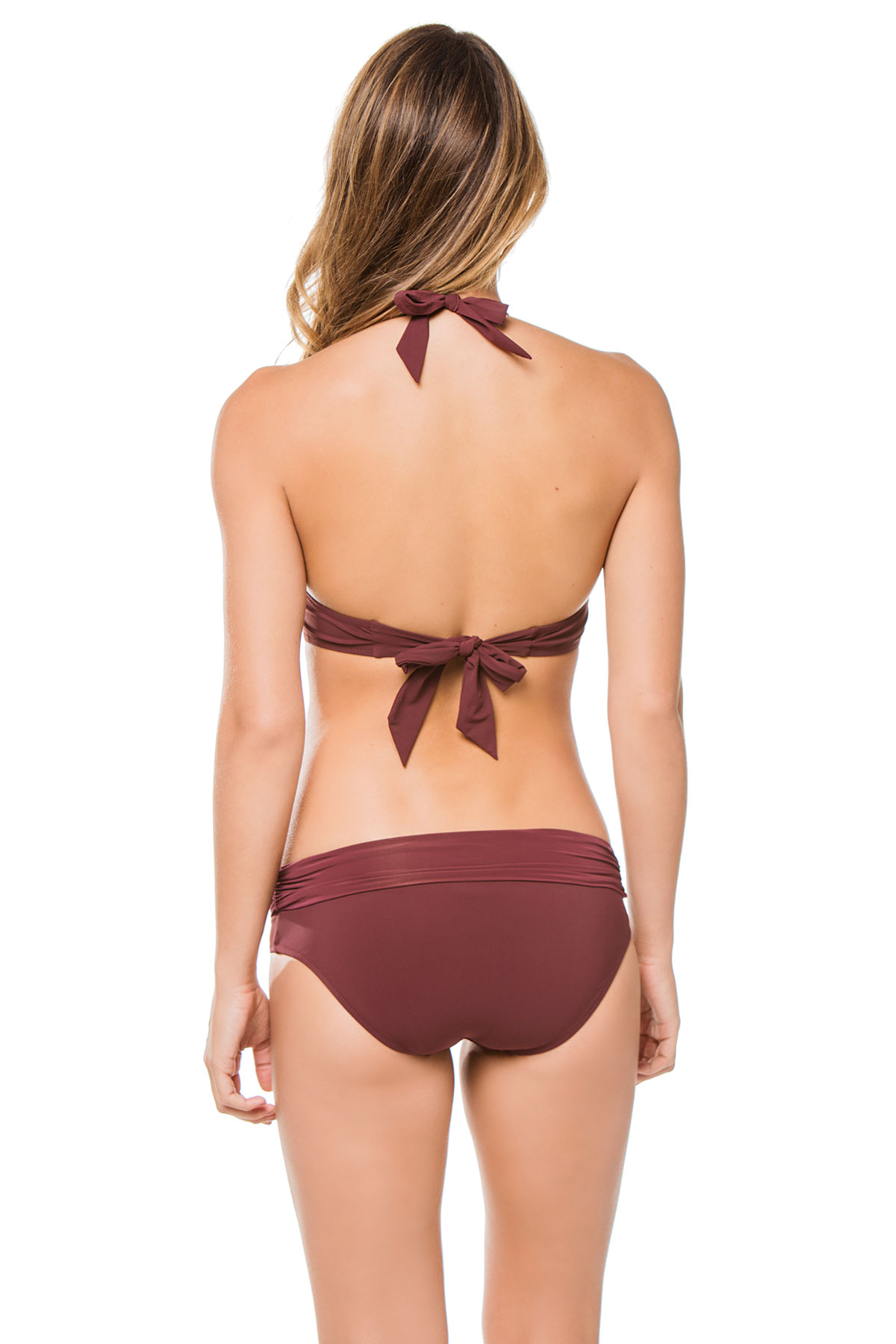 Ruched Halter Bikini Top (D-G Cup) - Burgundy 2