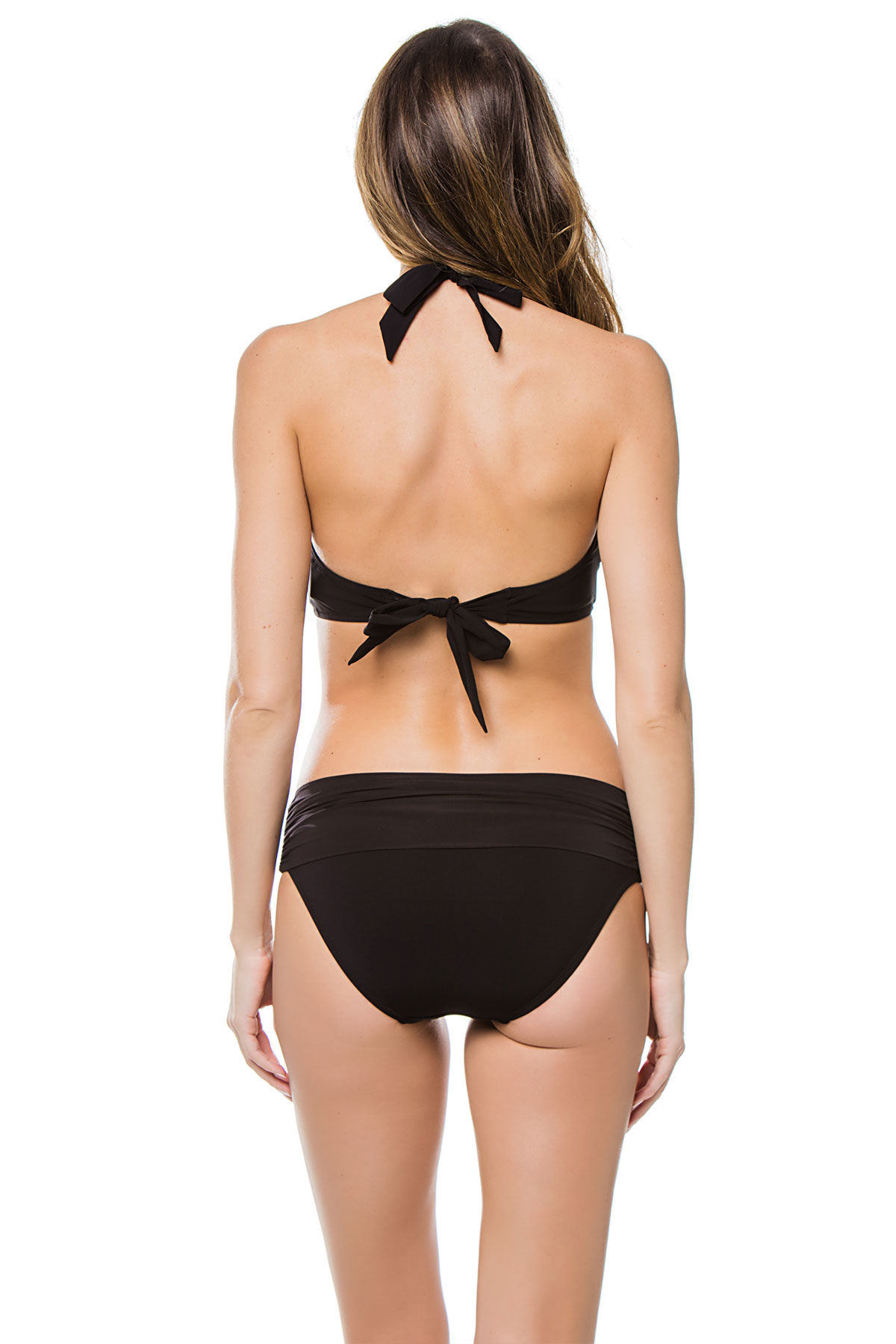 Ruched Halter Bikini Top (D-G Cup) - Black 4