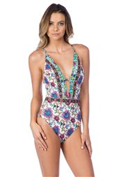 Goddess Plunge X-Back One Piece Swimsuit