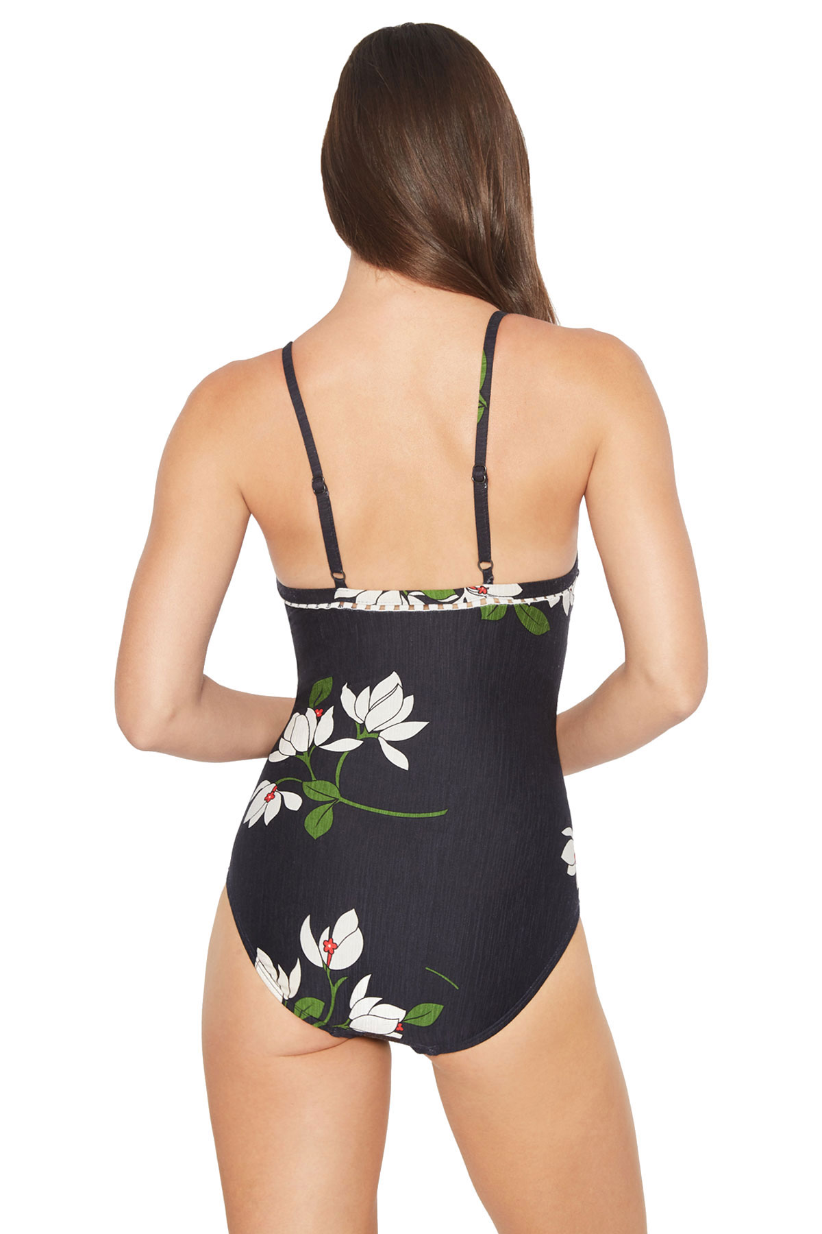 V-Neck Over The Shoulder One Piece Swimsuit  - Midnight Multi 2