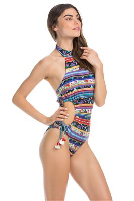High Neck Halter Cutout One Piece Swimsuit