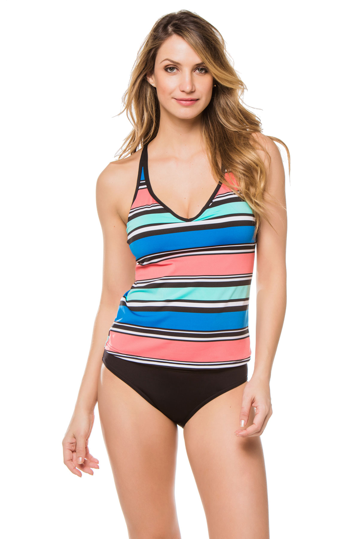 X-Back Over The Shoulder Tankini Top - Cobalt 1