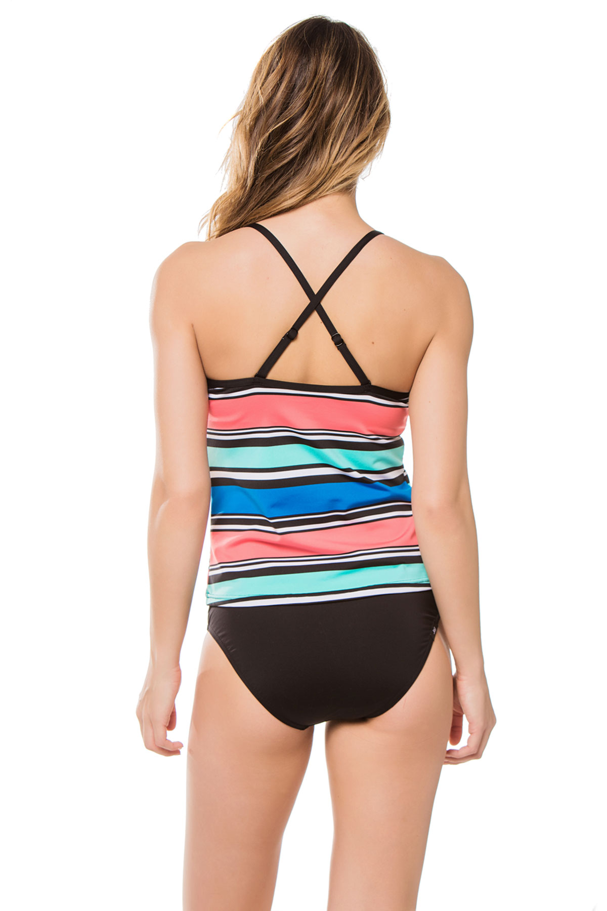 X-Back Over The Shoulder Tankini Top - Cobalt 2