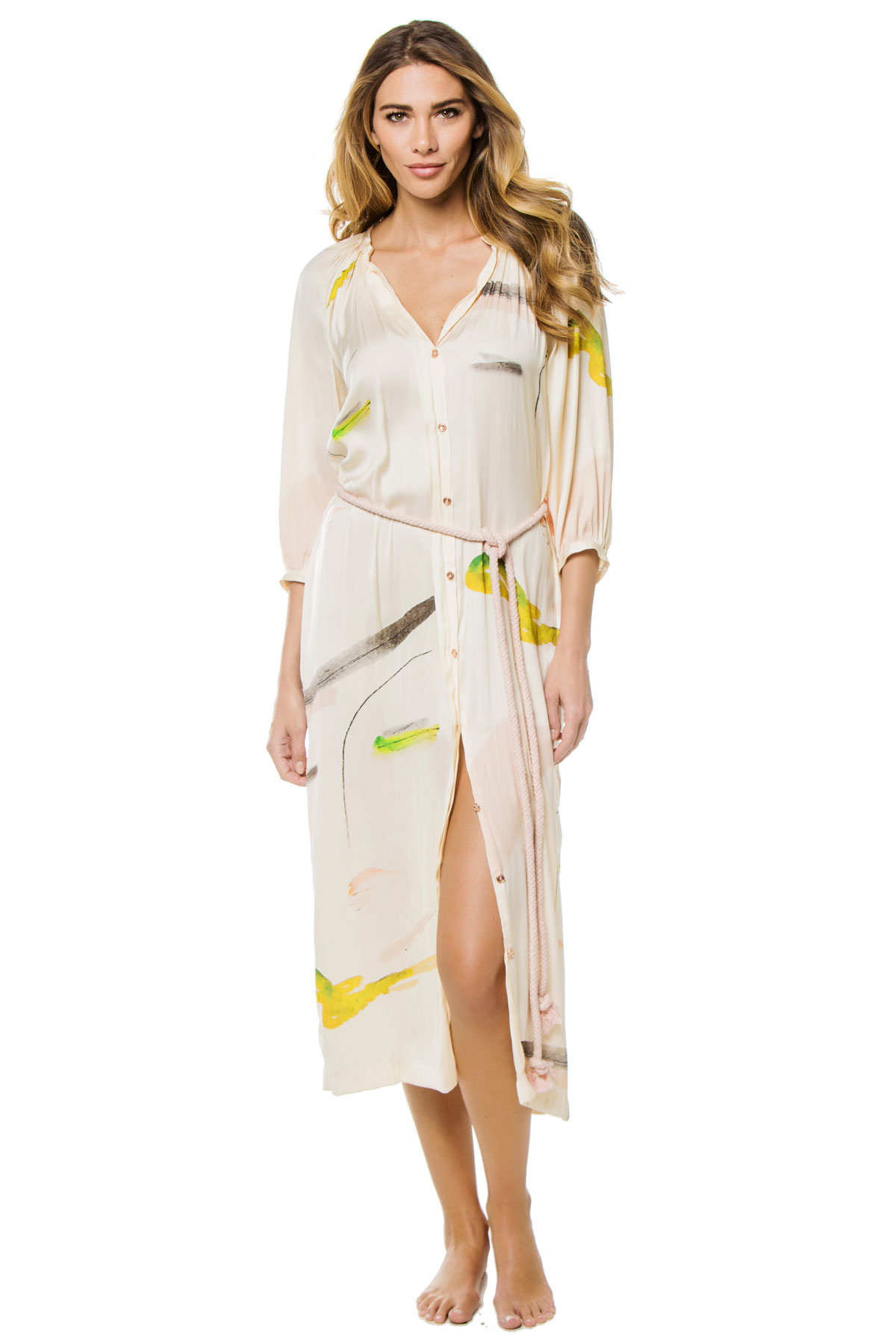Button Up Rope Tie Mid-Length Dress - Zephyr 1