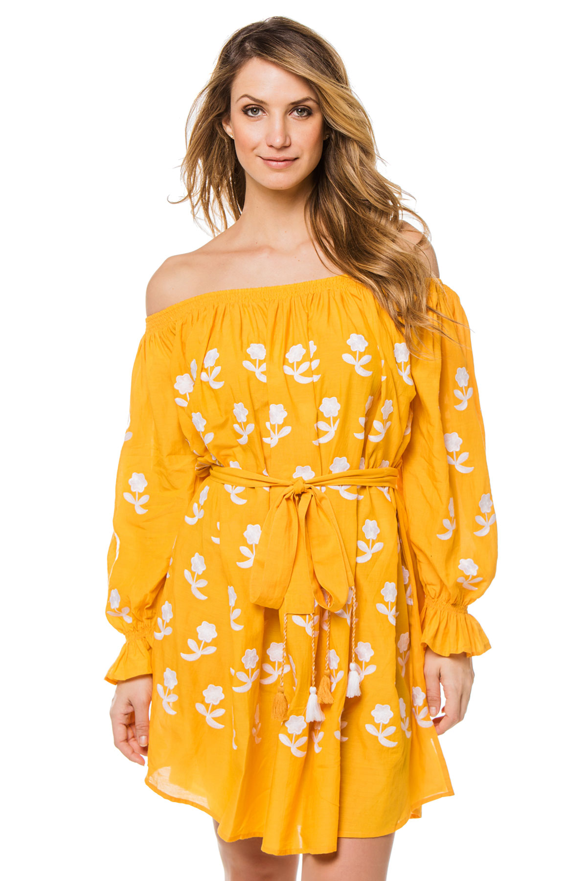 Flower Power Off The Shoulder Dress - Yellow