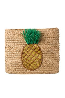 Whimsical Pineapple Woven Clutch