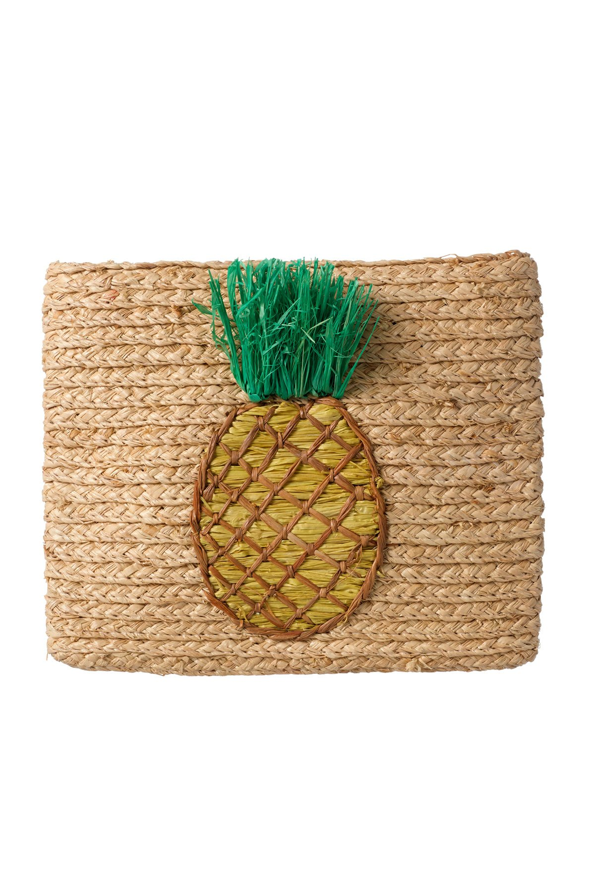 Whimsical Pineapple Woven Clutch - Natural 1