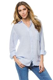 Collared Button Down Blue Blouse