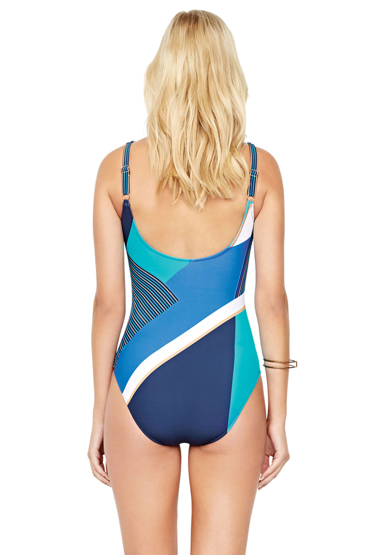 Square Neck Over The Shoulder One Piece Swimsuit  - Multi Blue 2