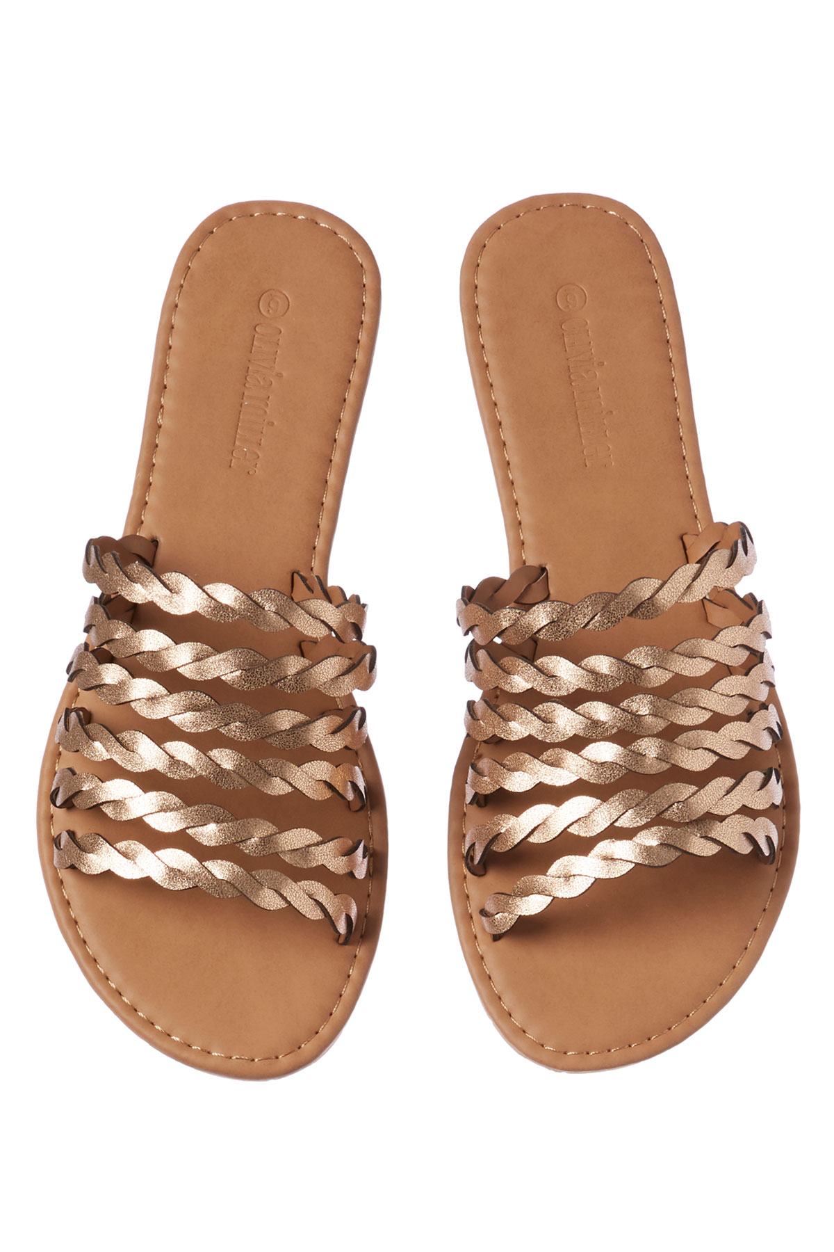 Metallic Strappy Slides - Rose Gold 1