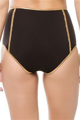 Montauk Black Reversible Metallic Trim High Waist Bikini Bottom