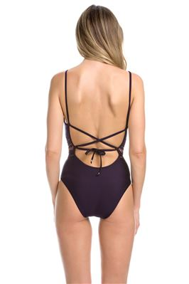 Embroidered Plunge Over The Shoulder One Piece Swimsuit