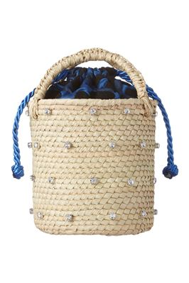 Woven Straw With Swarovski Crystals Handbag