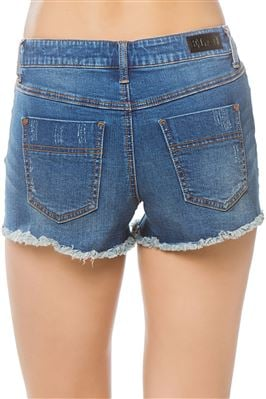 Denim High Waist Distressed Shorts