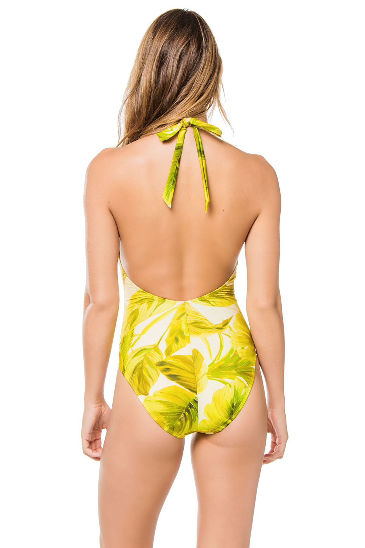 Plunge Halter One Piece Swimsuit - Yellow Multi 2