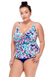 Twist-Front Underwire Over The Shoulder Tankini Top (DD-E Cup)