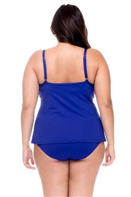 Twist-Front Underwire Over The Shoulder Tankini Top (C-D Cup)