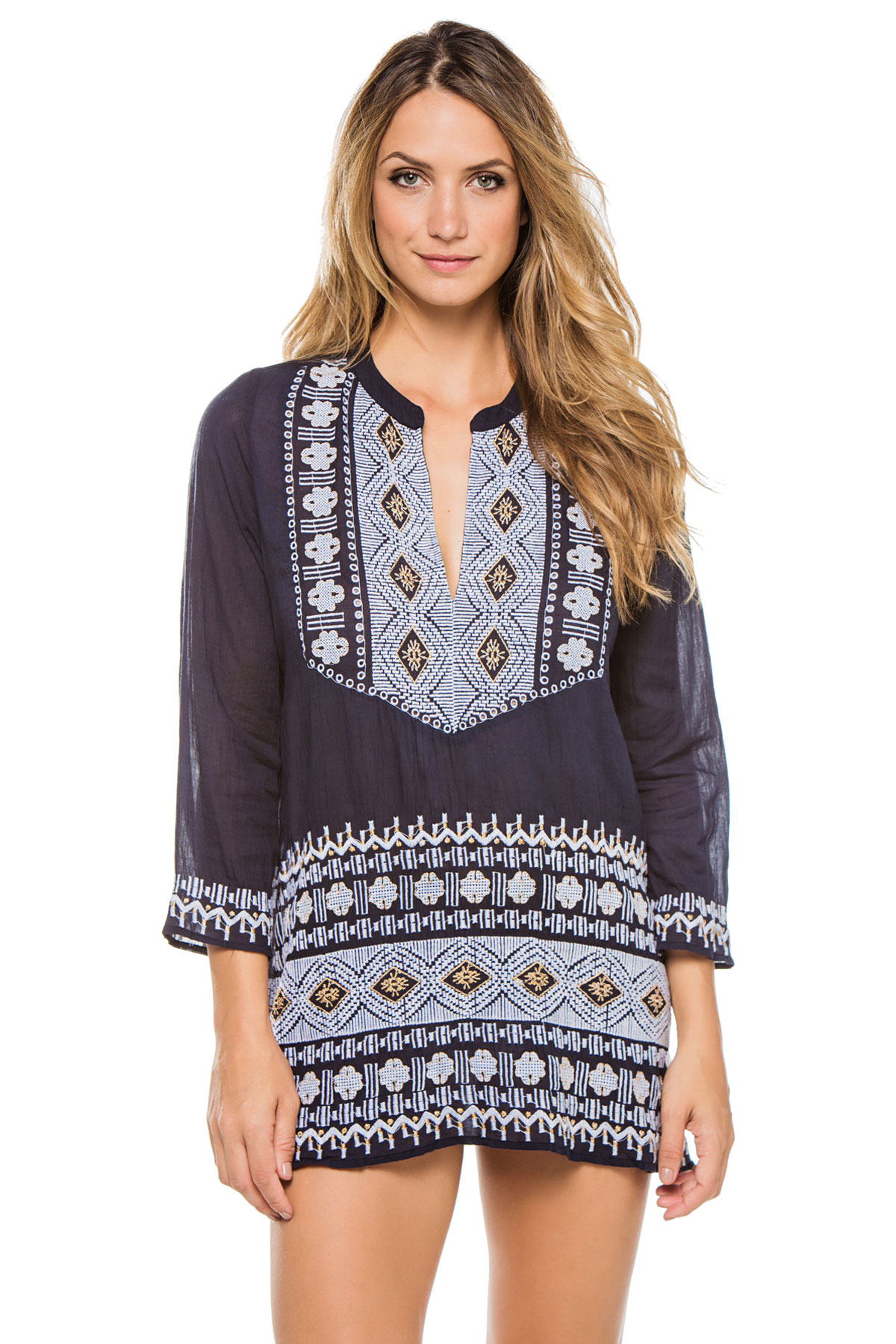 Embroidered Long Sleeve Tunic - Ink