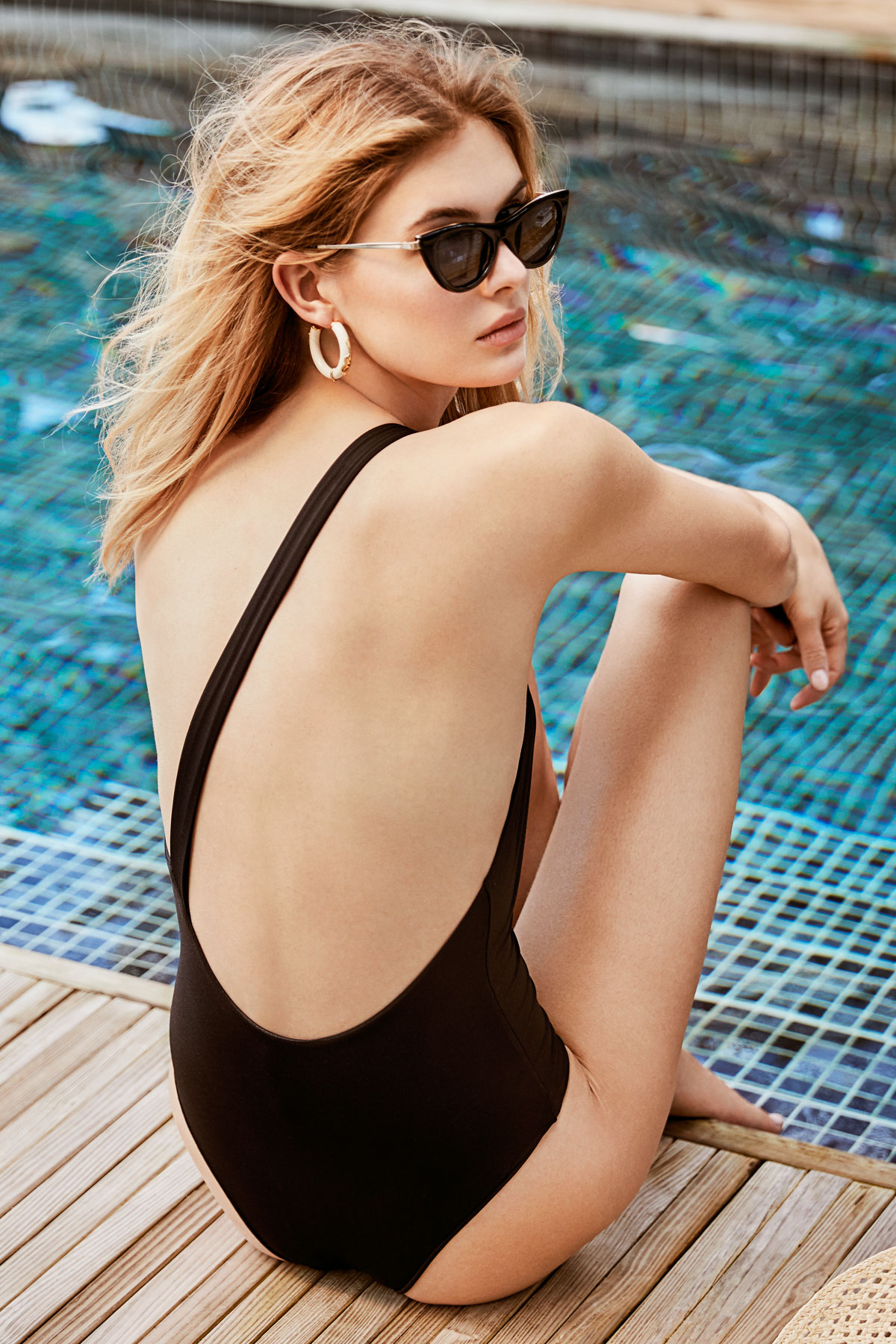 Angled Asymmetrical One Piece Swimsuit - Black 3
