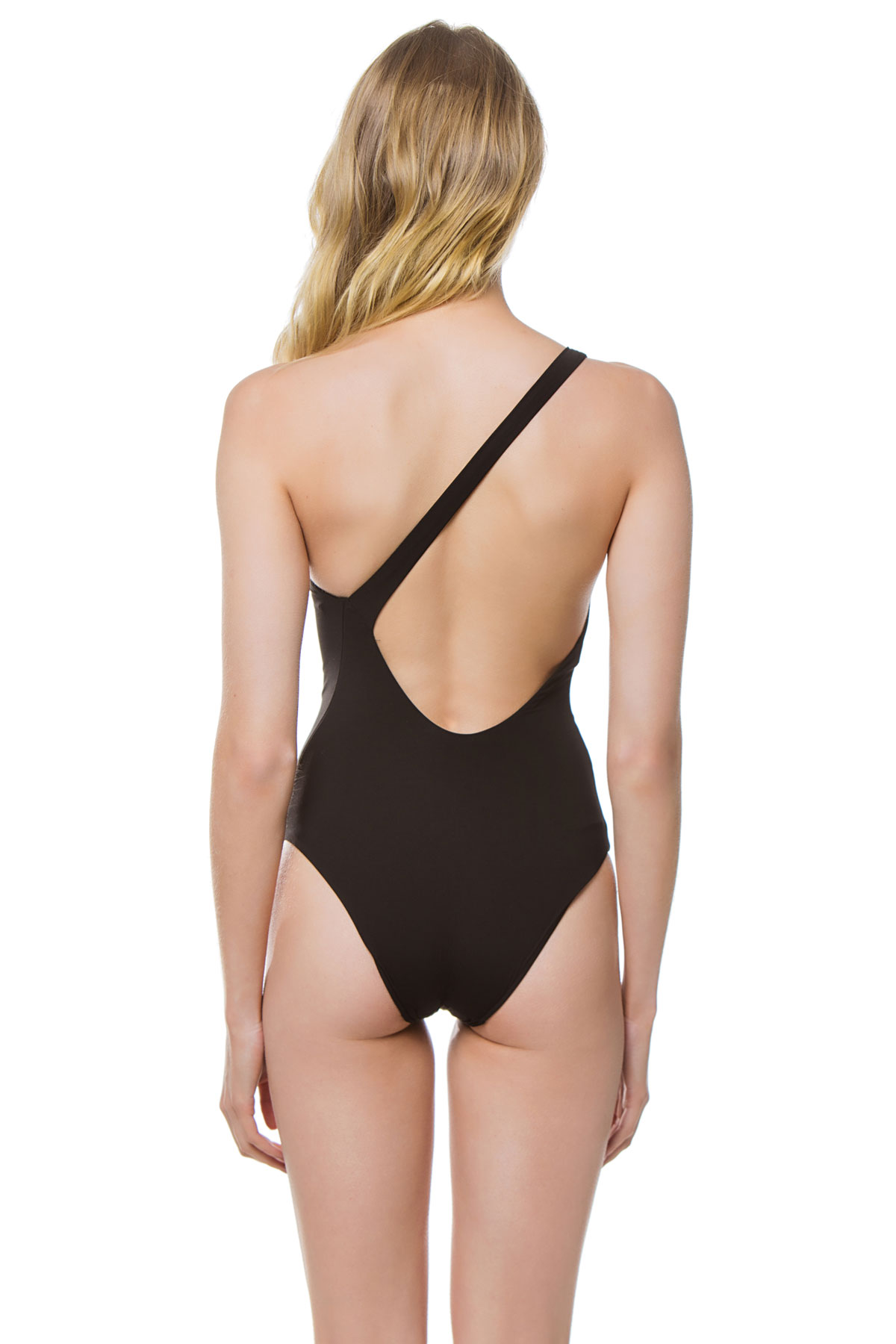 Angled Asymmetrical One Piece Swimsuit - Black 2