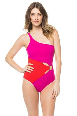 Colorblocked Asymmetrical One Piece Swimsuit