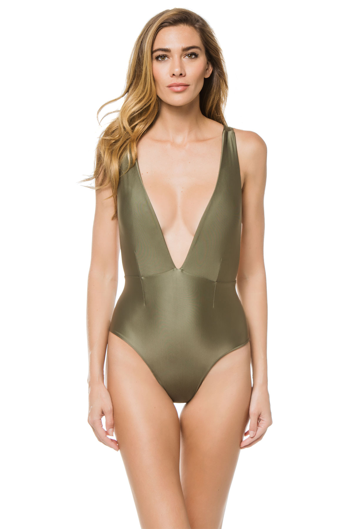 Marina Plunge Over The Shoulder One Piece Swimsuit - Cedar Green