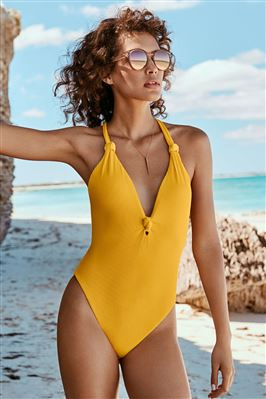 Ribbed Plunge One Piece Swimsuit