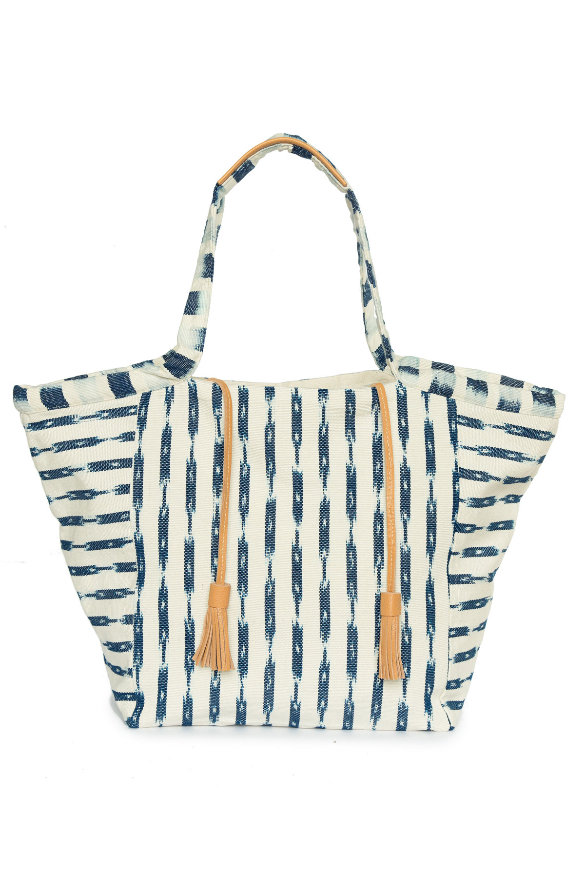 RosaI Ikat Leather Tassel Fabric Oversized Tote - Blue/White 1