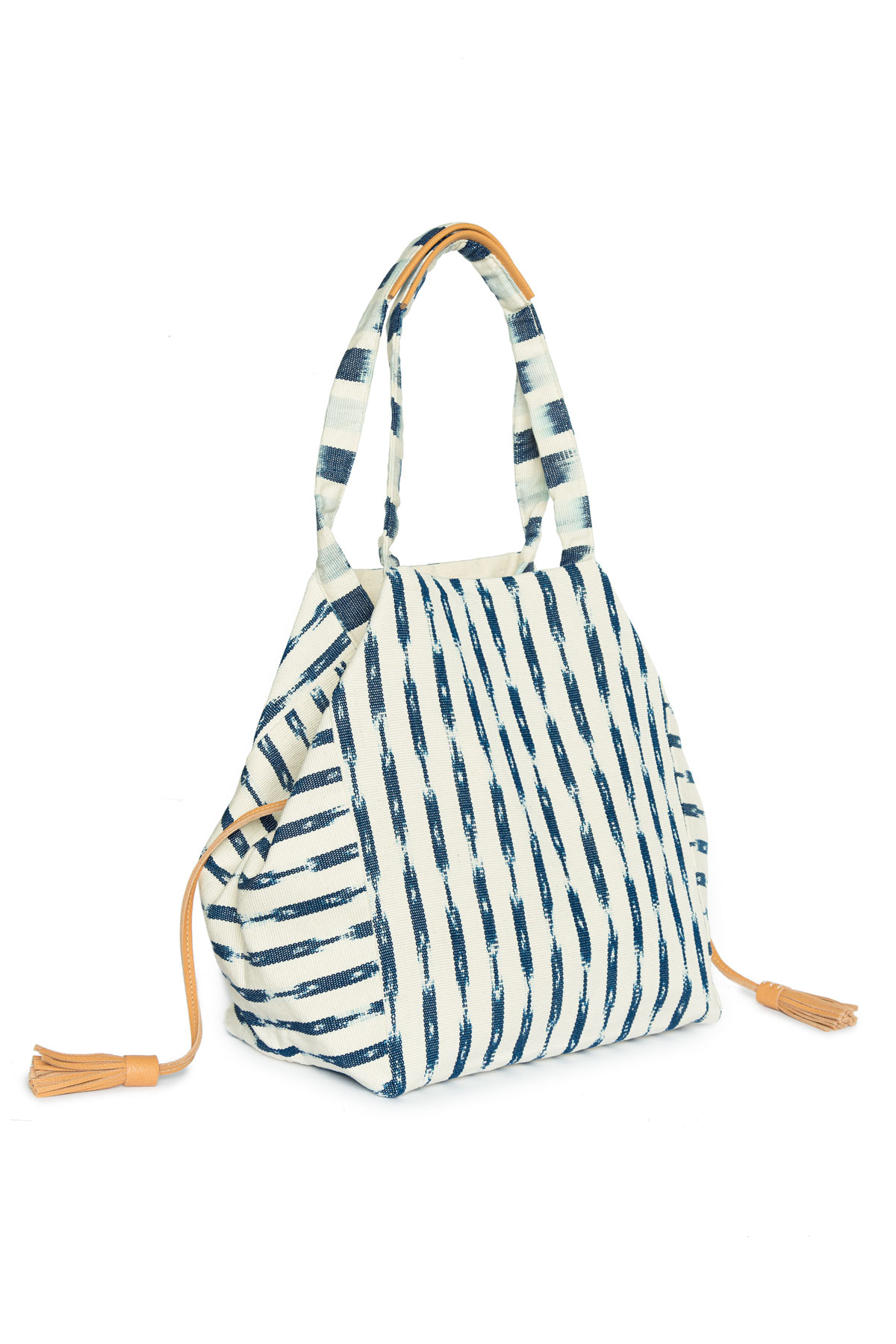 RosaI Ikat Leather Tassel Fabric Oversized Tote - Blue/White 2