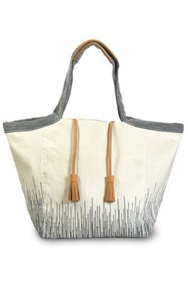 Rosa Leather Tassel Fabric Oversized Tote