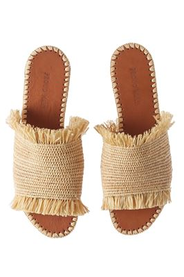 Raffia Fringe Natural Leather Slides